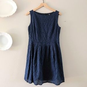 Uniqlo Navy Eyelet Fit and Flare Dress